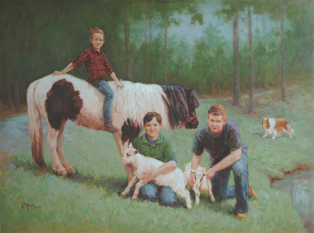 """Alex, Nicholas, and Julia"" original fine art by Cecile W. Morgan"