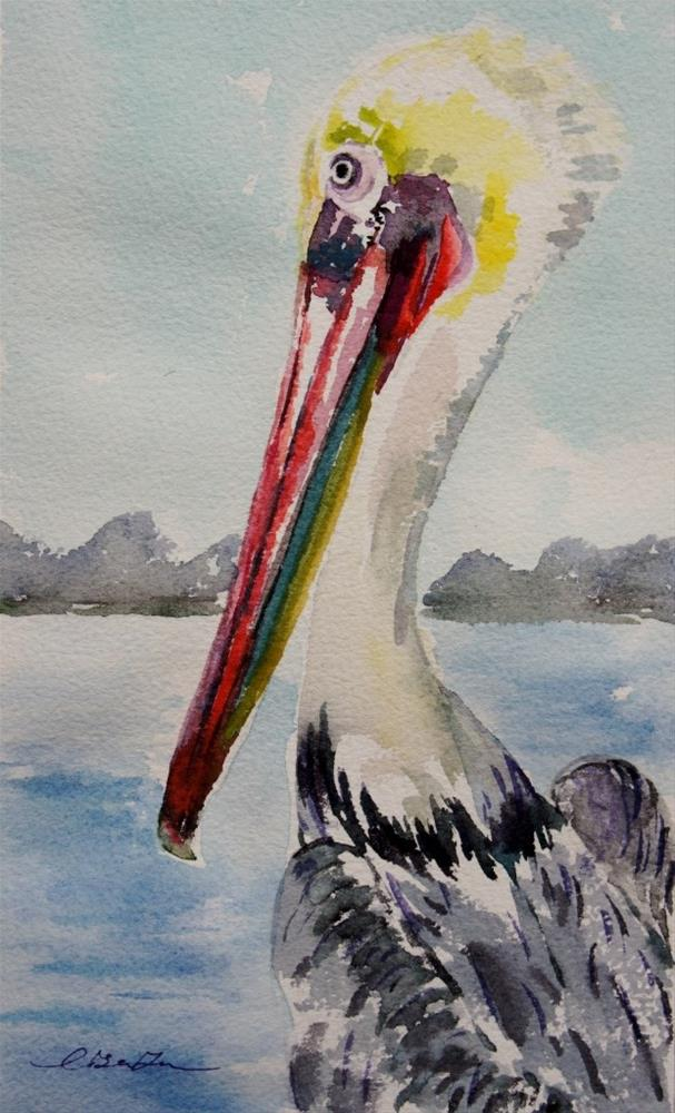 """Pelican at the pier-2"" original fine art by Lisa Fu"
