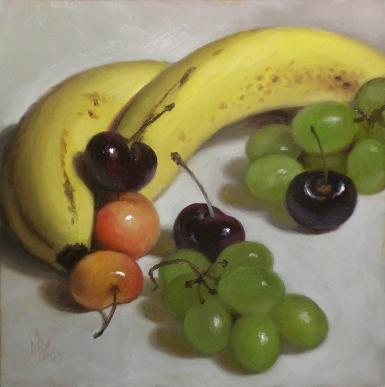 """Bananas with Cherries and Grapes"" original fine art by Debra Becks Cooper"