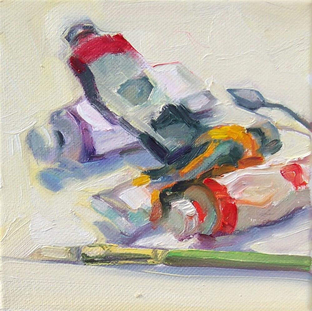 """Studio Art Supplies,still life,oil on canvas,6x6,price$200"" original fine art by Joy Olney"