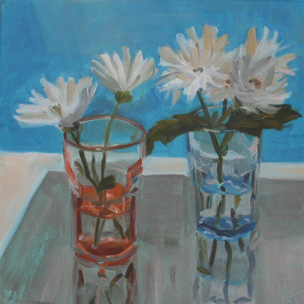 """White on Blue"" original fine art by Aniko Makay"