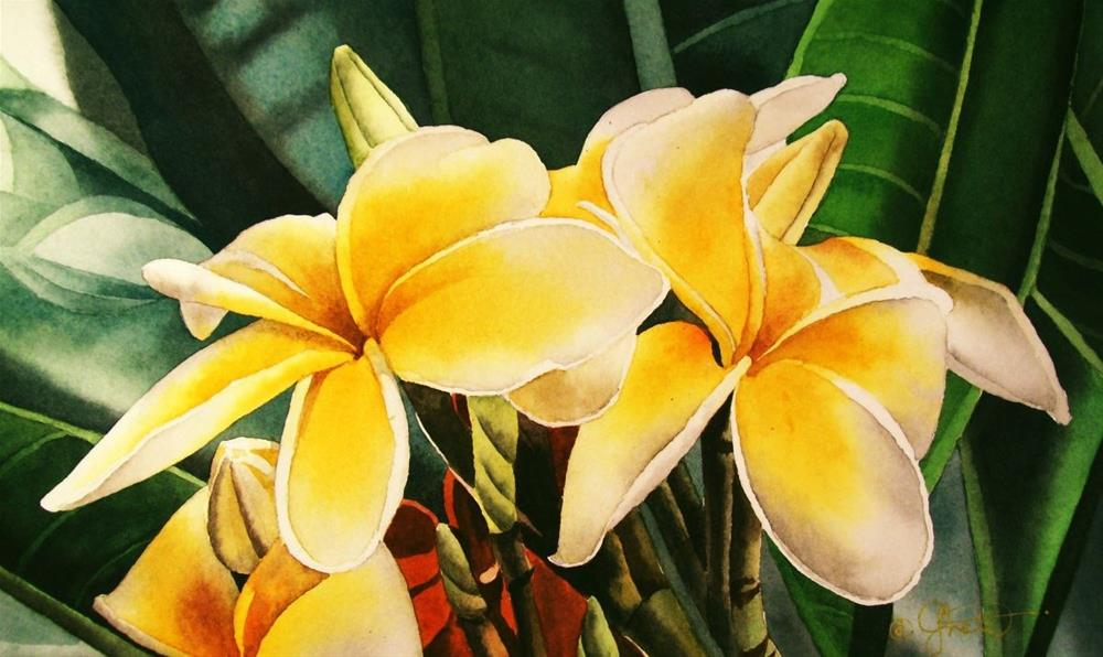 """Yellow Frangipani"" original fine art by Jacqueline Gnott, whs"