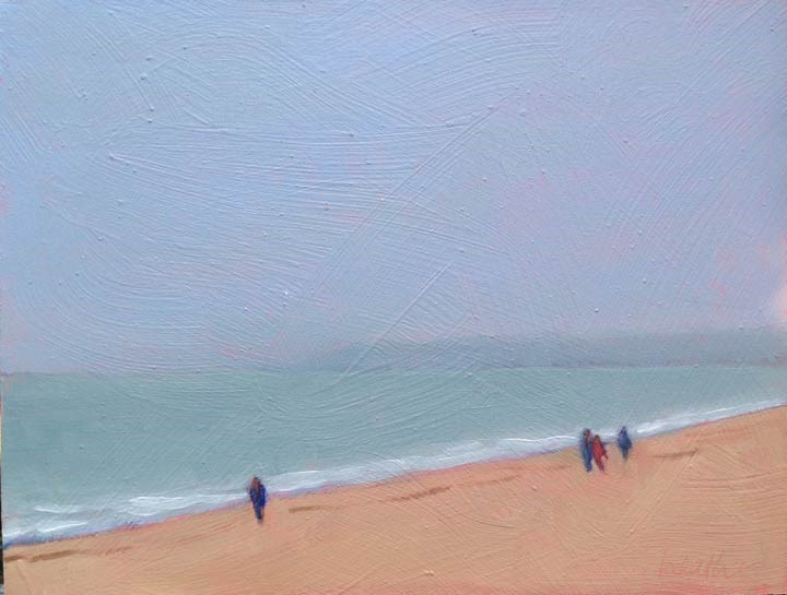 """Wet Beach at Trouville"" original fine art by Bobbi Heath"