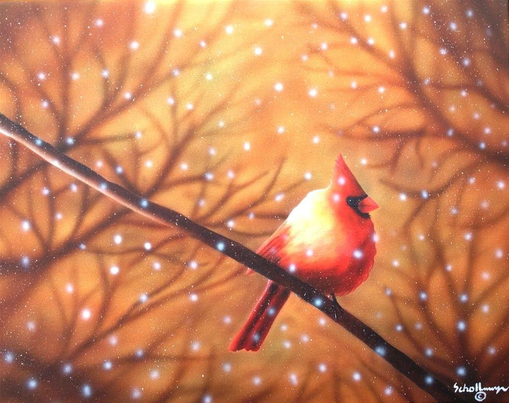 """Cardinal with Sunlight and Snow"" original fine art by Fred Schollmeyer"