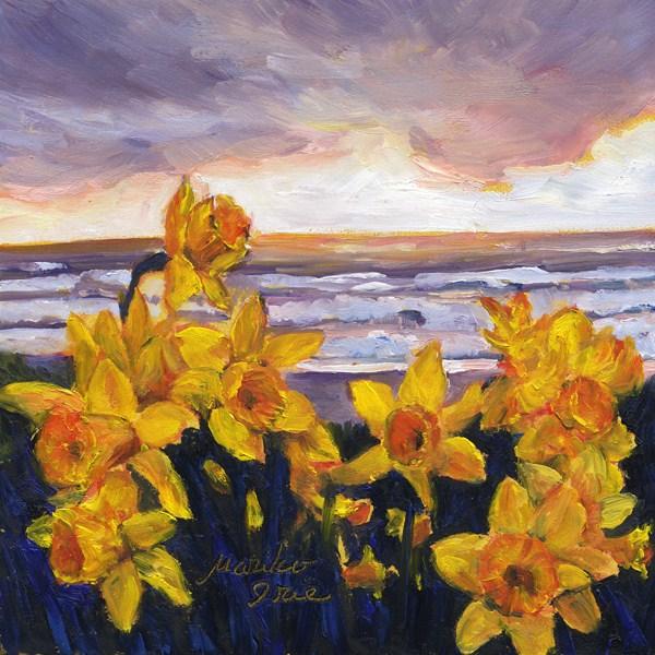 """Daffodils by the Sea"" original fine art by Mariko Irie"