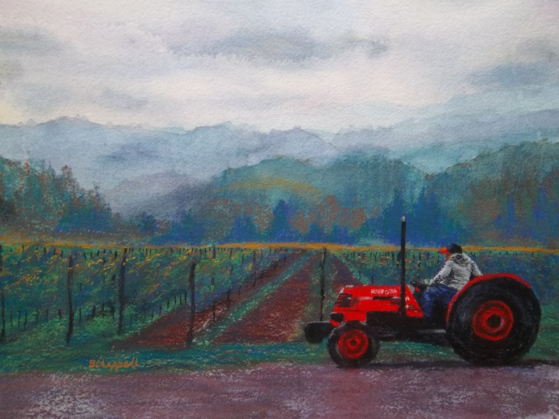 """Working the Vineyard"" original fine art by Becky Chappell"