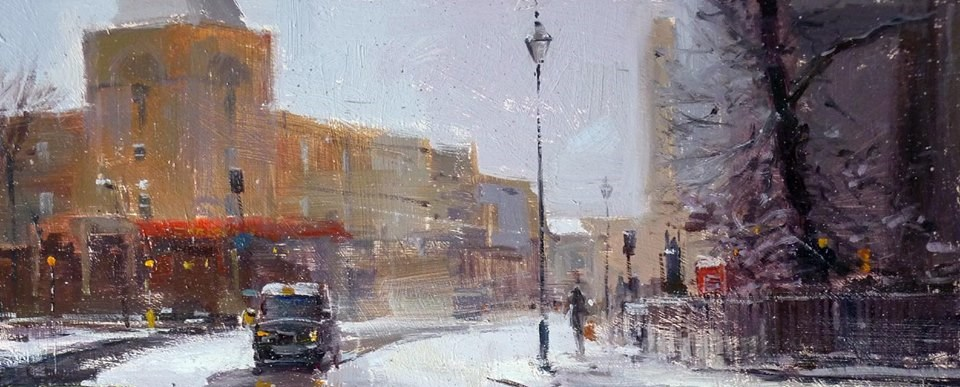 """Snow at Greenwich"" original fine art by Adebanji Alade"