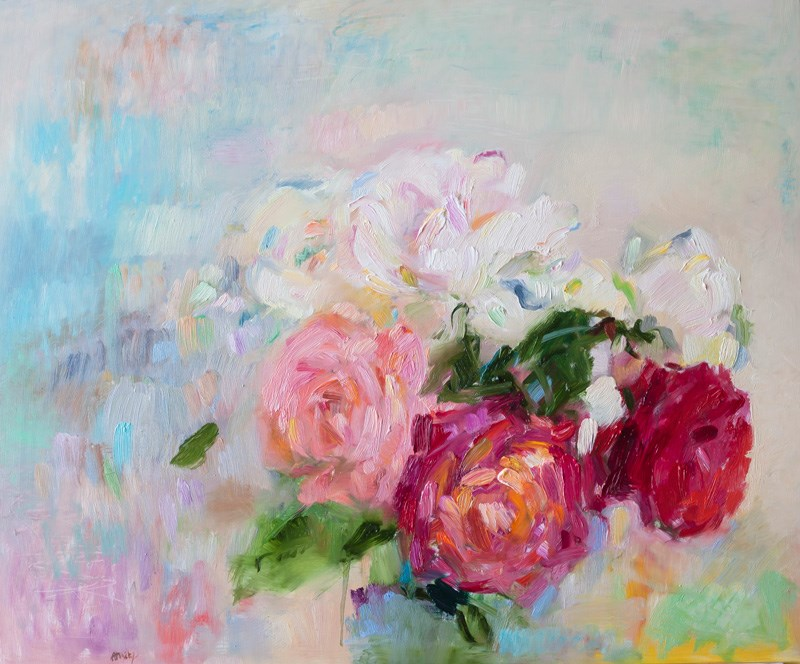 """""""Tenderness - White, Pink and Red Garden Roses"""" original fine art by Anna  Fine Art"""