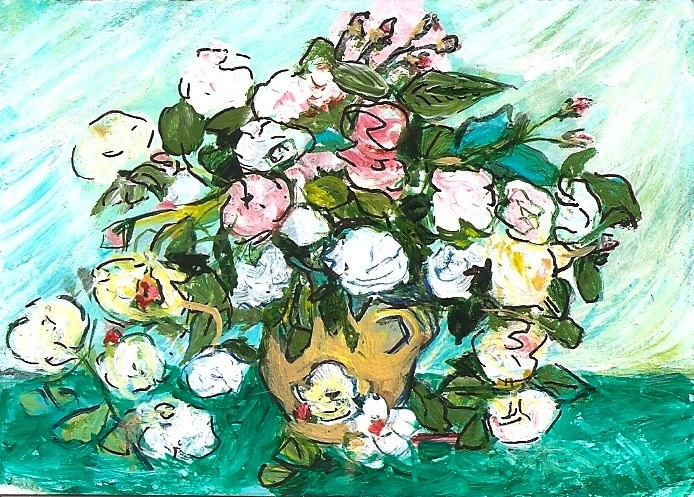 """ACEO Still Life Vase with Pink Roses in the Style of Van Gogh by Penny StewArt"" original fine art by Penny Lee StewArt"