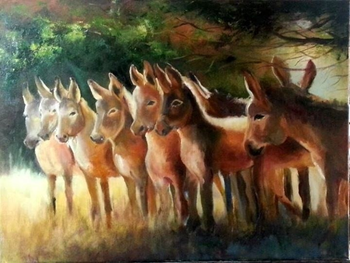 """Sharing the shade"" original fine art by Ronel Alberts"