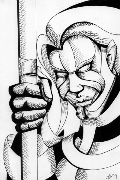 """""""Mark Webster - Untitled Mask Portrait Pen and Ink Drawing"""" original fine art by Mark Webster"""
