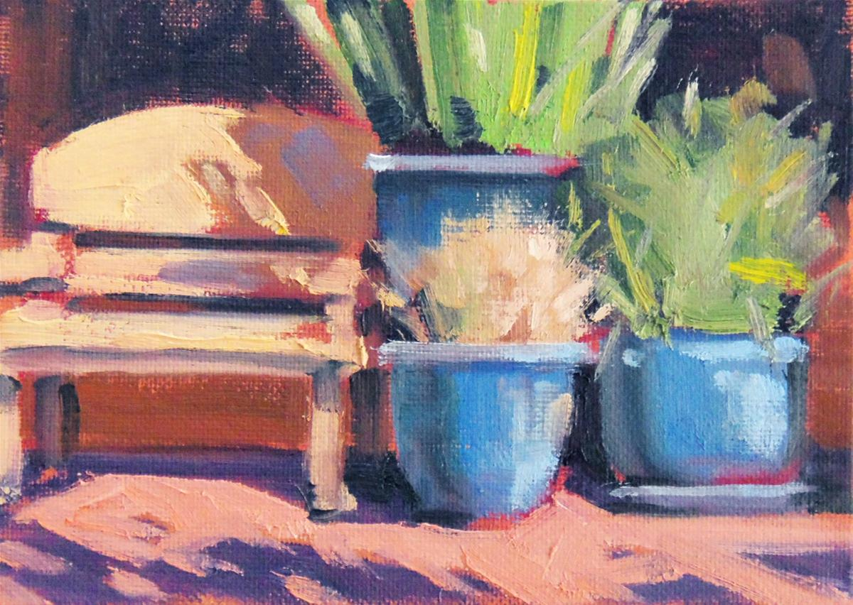 """Blue Pots on Main Street"" original fine art by Deborah Newman"