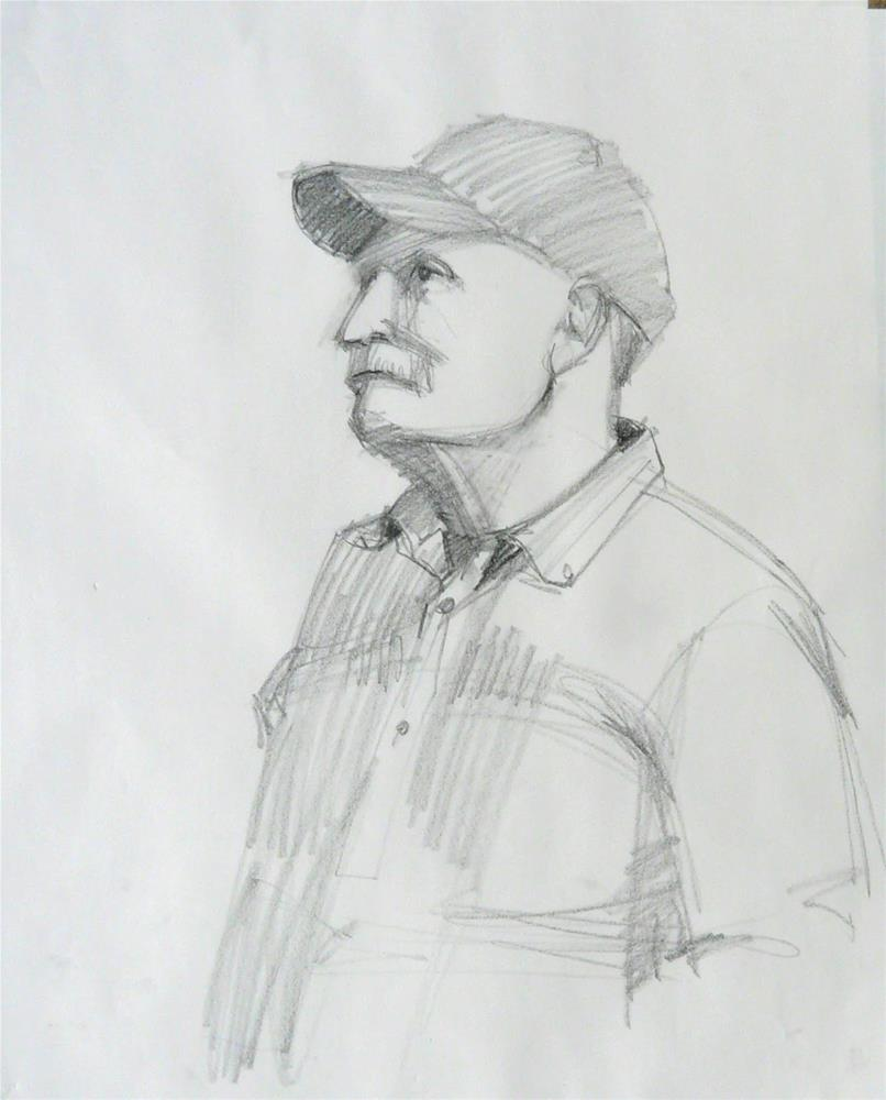 """Cap on John,figure,graphite on paper,28x18,price$100"" original fine art by Joy Olney"
