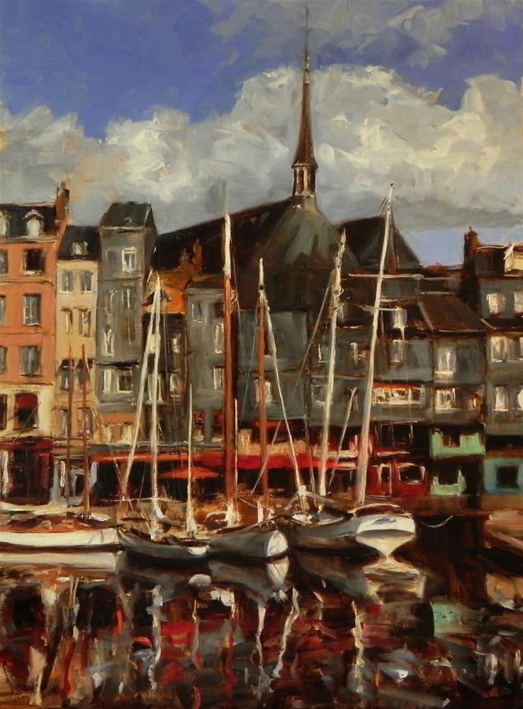 """Honfleur Boats IV"" original fine art by Jonelle Summerfield"