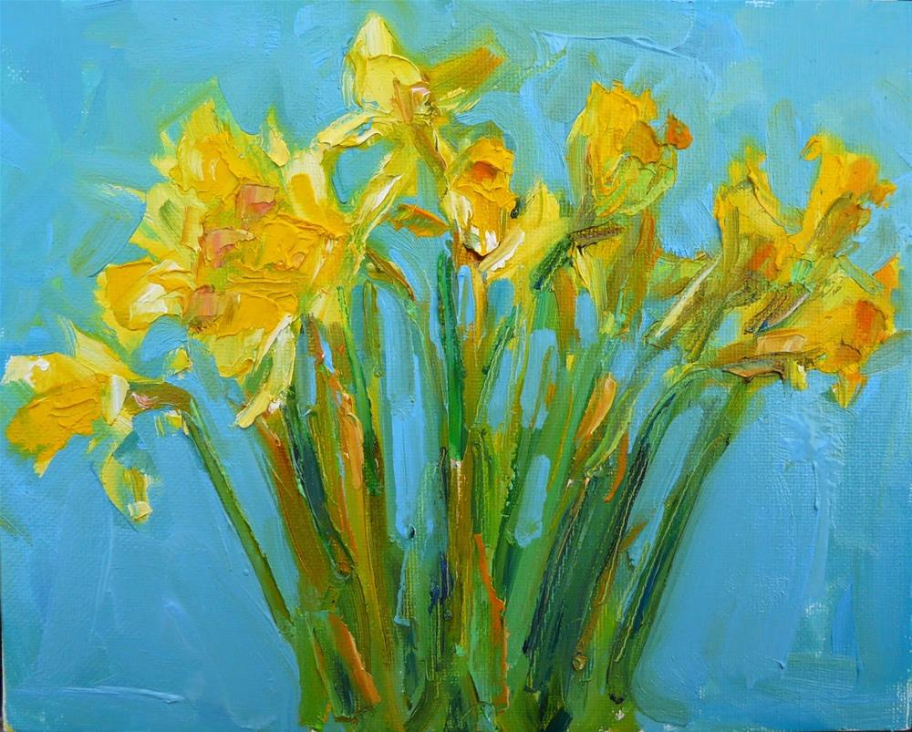 """Febuary Dafodils,still life,oil on canvas,8x10.price$200"" original fine art by Joy Olney"