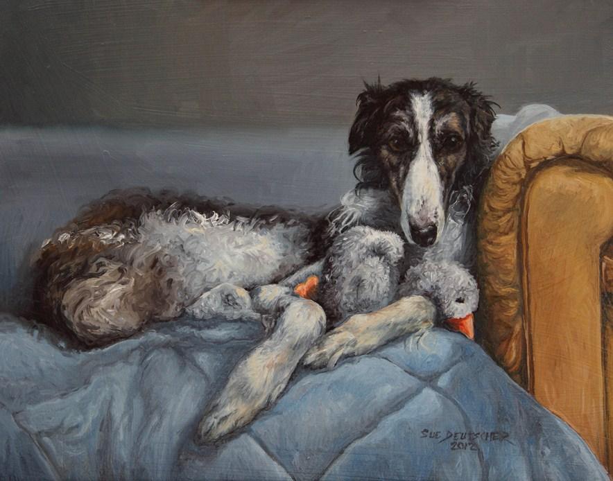 """""""It's Just Ducky (Borzoi)"""" original fine art by Sue Deutscher"""