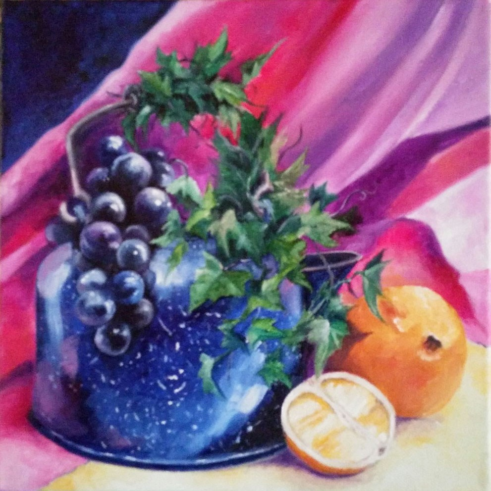 """Blue Tea Kettle"" original fine art by Elaine Lynest"