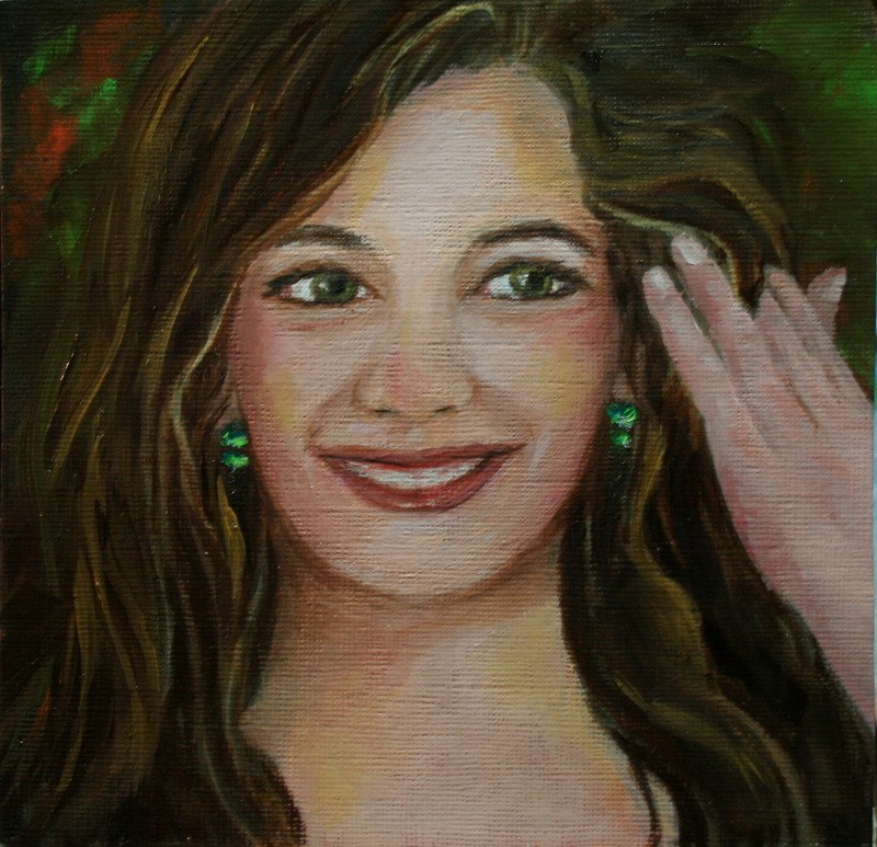 """Emerald Earrings"" original fine art by Jean Nelson"