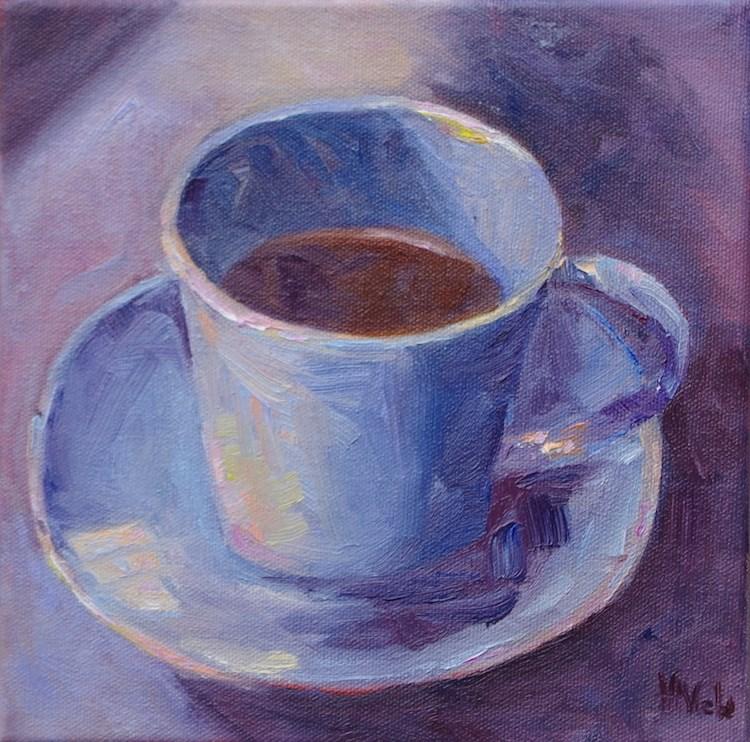 """""""First Cup"""" original fine art by Helen Viebrock Hamel"""