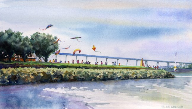 """Watercolor: Good Day for Kites (& watching James Gurney paint a tortoise)"" original fine art by Belinda Del Pesco"