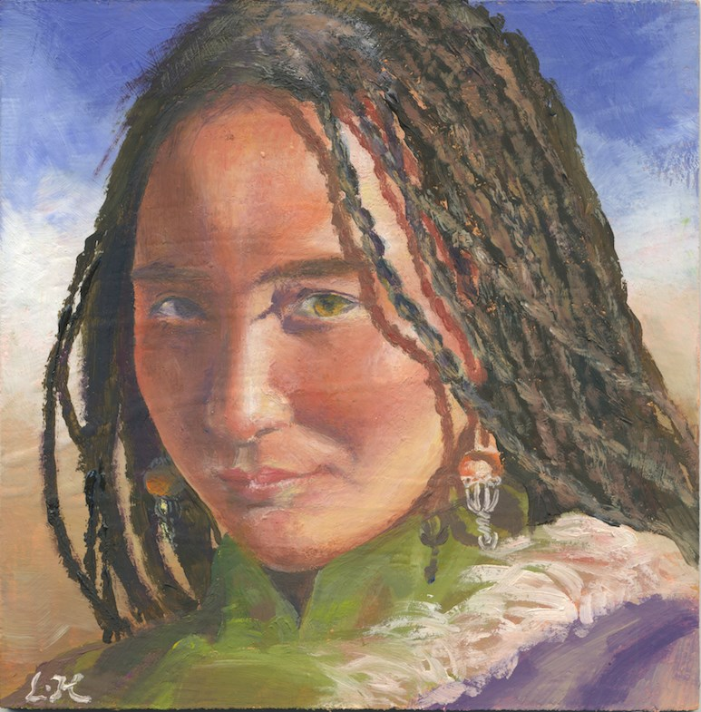 """""""Tibetan Girl"""" original fine art by Hui (Hue) Li"""