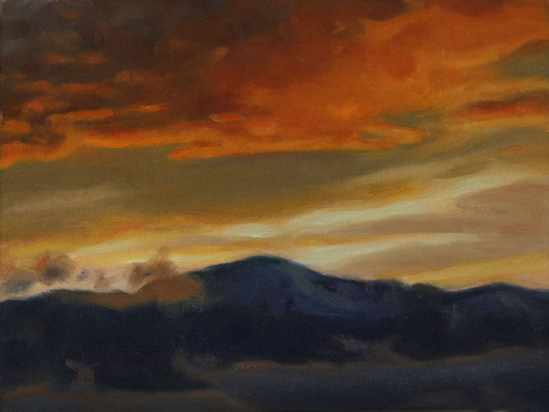 """Pikes Peak Sunset (framed)"" original fine art by Pamela Poll"