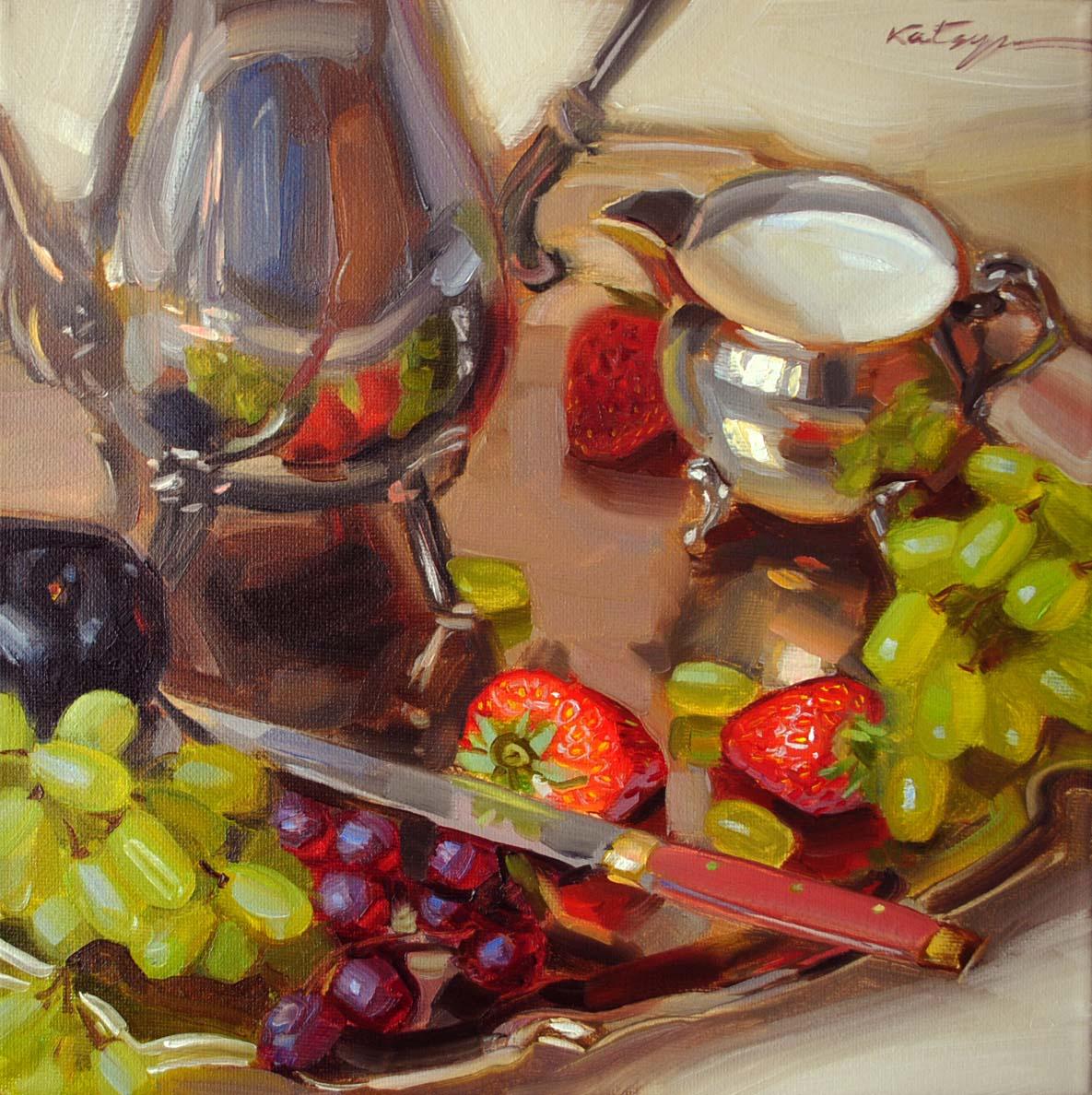 """Fruit & Silver"" original fine art by Elena Katsyura"