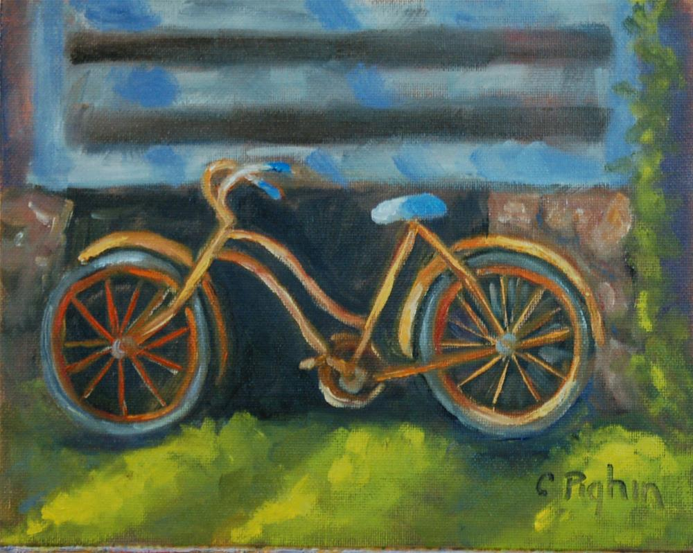 """Orange Bike"" original fine art by Carol Pighin"