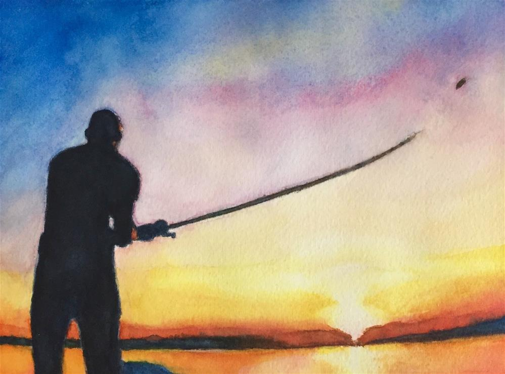 """Fishin' at Sunset"" original fine art by Melissa Gresham"