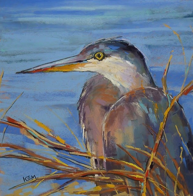 """First Steps in Painting a Bird ... Great Blue Heron Painting"" original fine art by Karen Margulis"