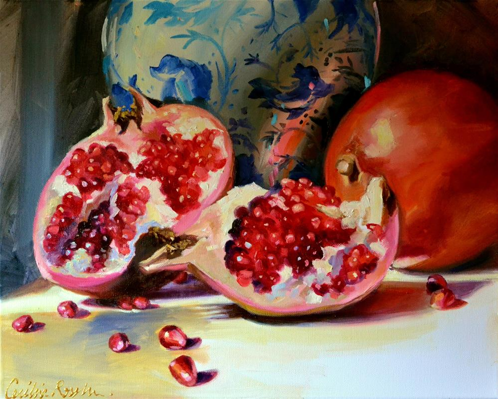 """POMMEGRANATES"" original fine art by Cecilia Rosslee"