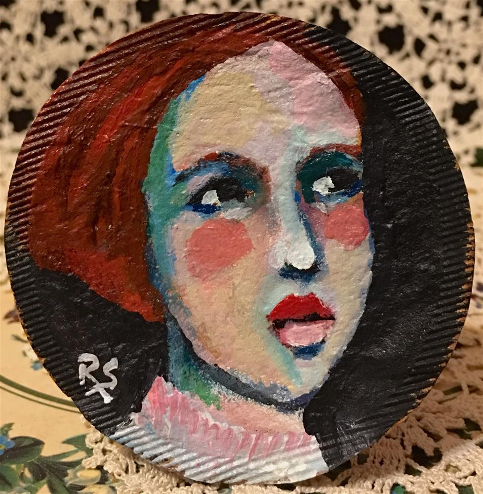"""Tea Bag Portrait - Jessie"" original fine art by Roberta Schmidt"