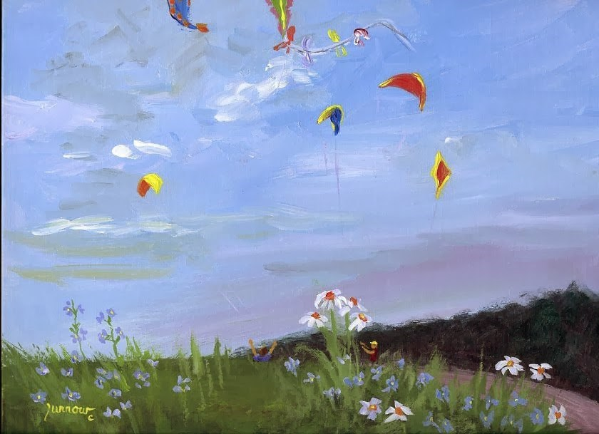 """No. 28 of the 30 Day Challenge  Kite Feast"" original fine art by Sue Furrow"