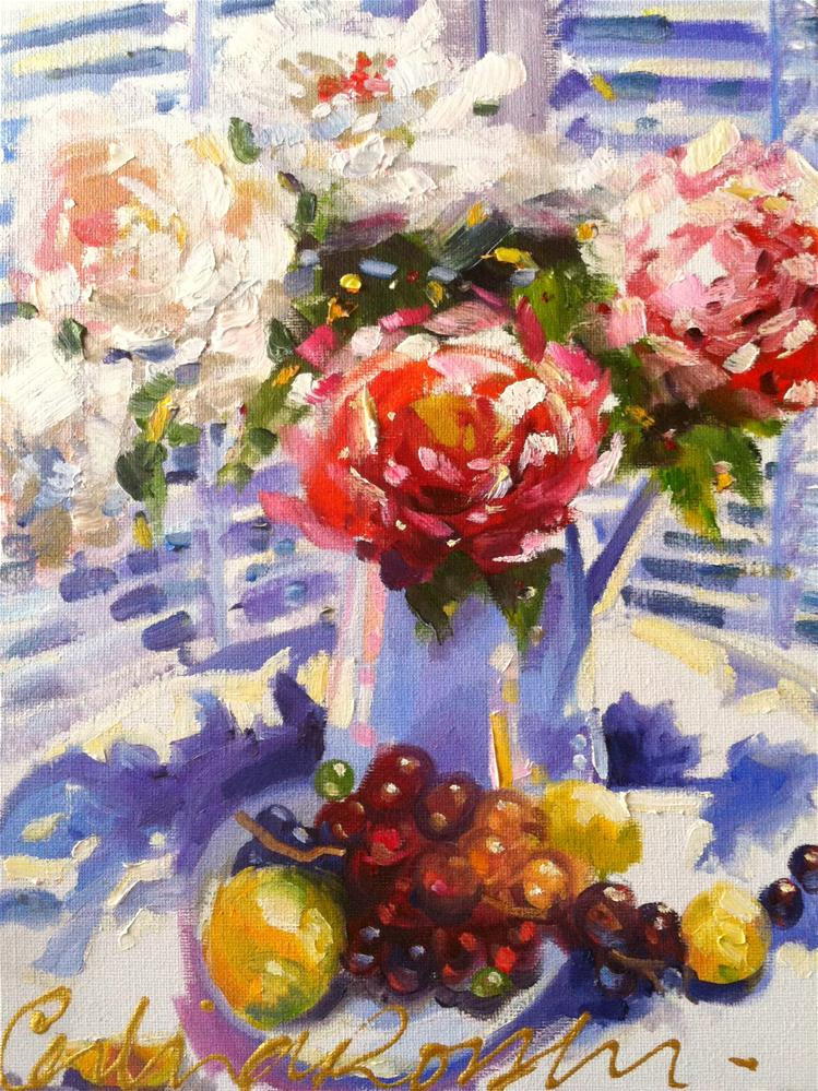 """FRENCH BLUE AND ROSES"" original fine art by Cecilia Rosslee"