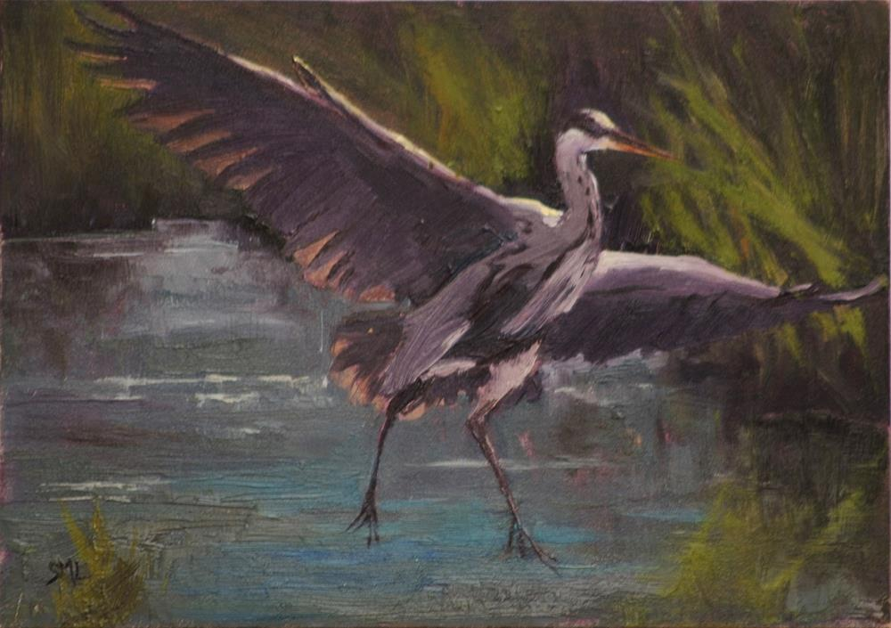 """Heron"" original fine art by Sheila Marie"