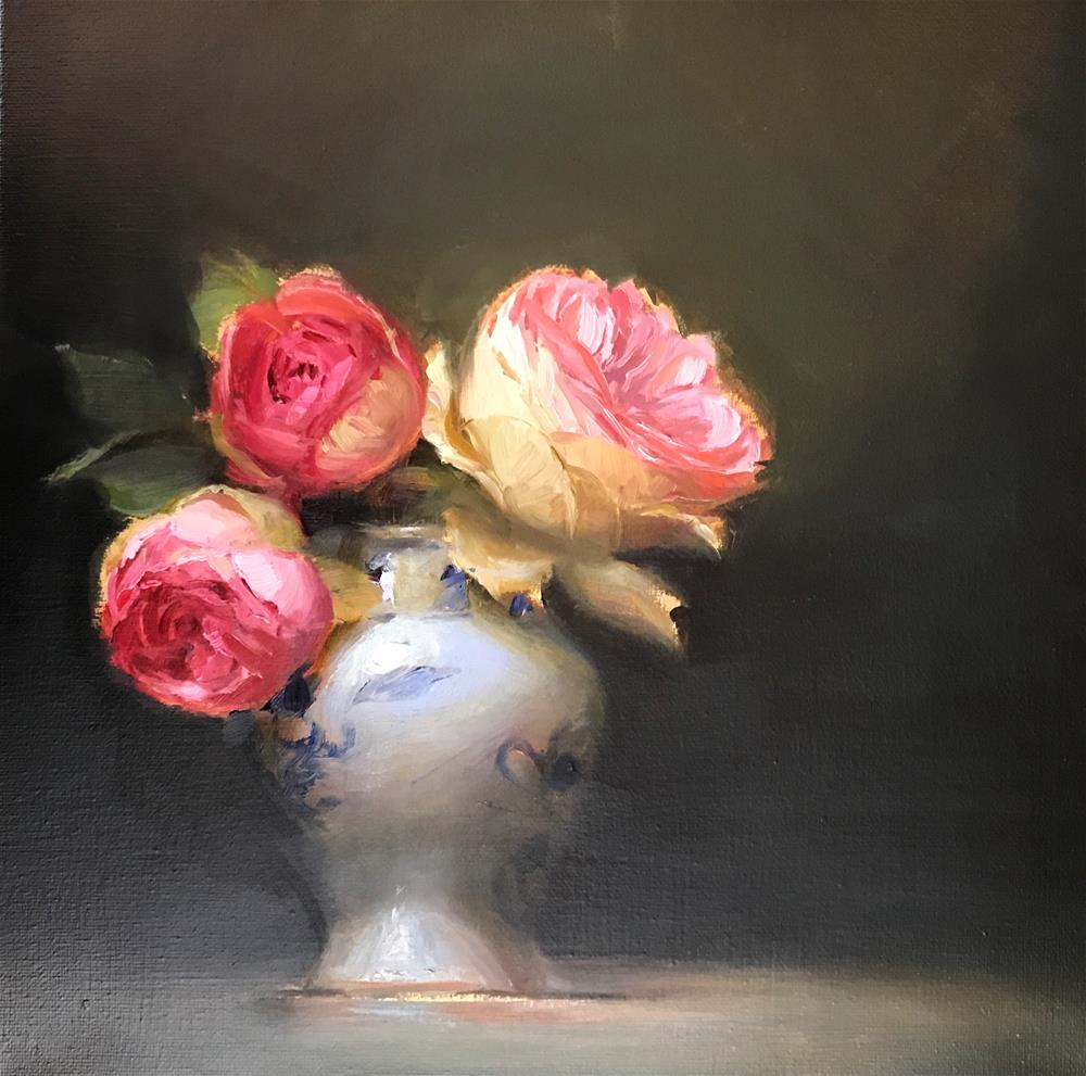 """Roses in white and blue"" original fine art by Regina Lyubovnaya"