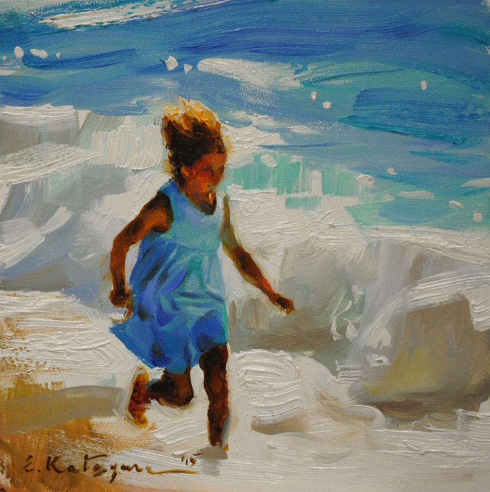 """Seafoam Run"" original fine art by Elena Katsyura"