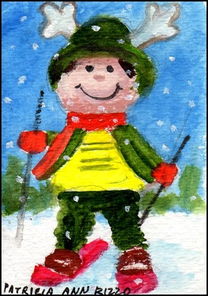 """Tiny Downhill Skier"" original fine art by Patricia Ann Rizzo"