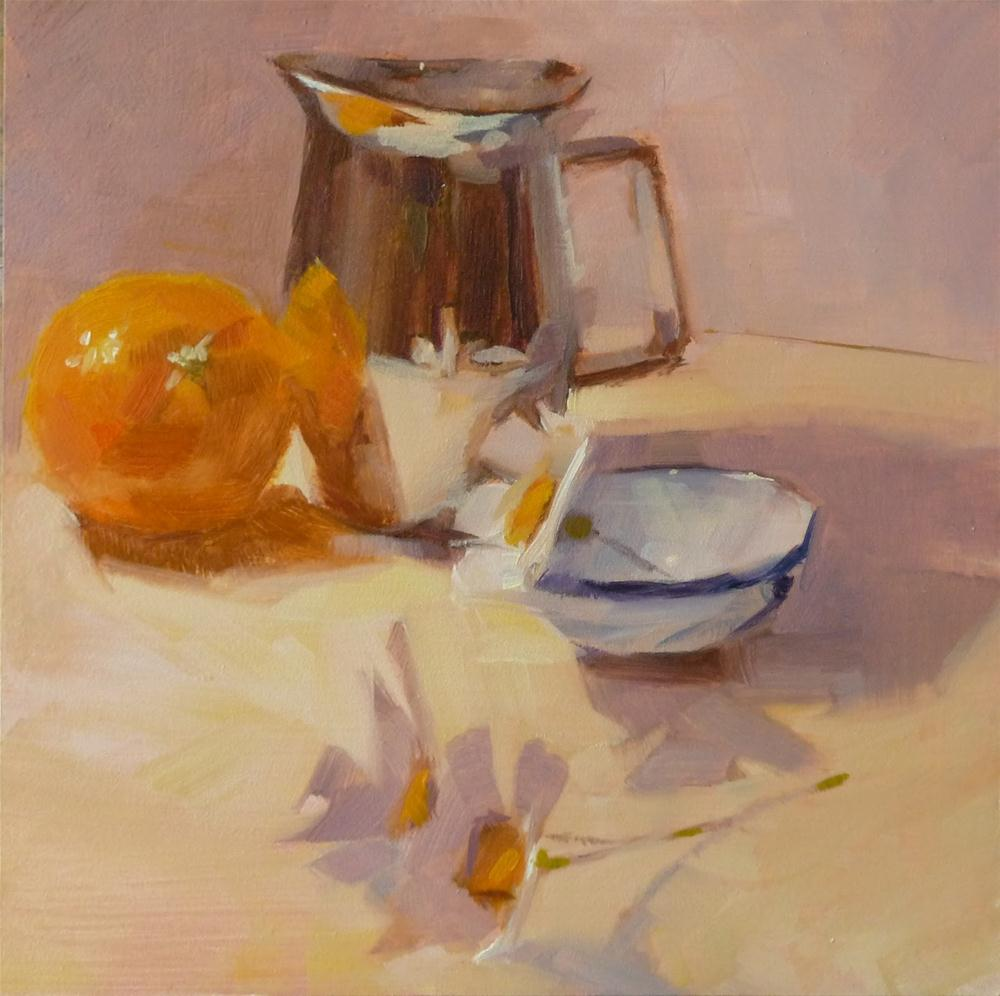 """Cream Pitcher & Orange"" original fine art by Ron Ferkol"