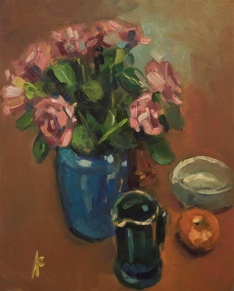 """Still Life with Roses"" original fine art by Andre Pallat"