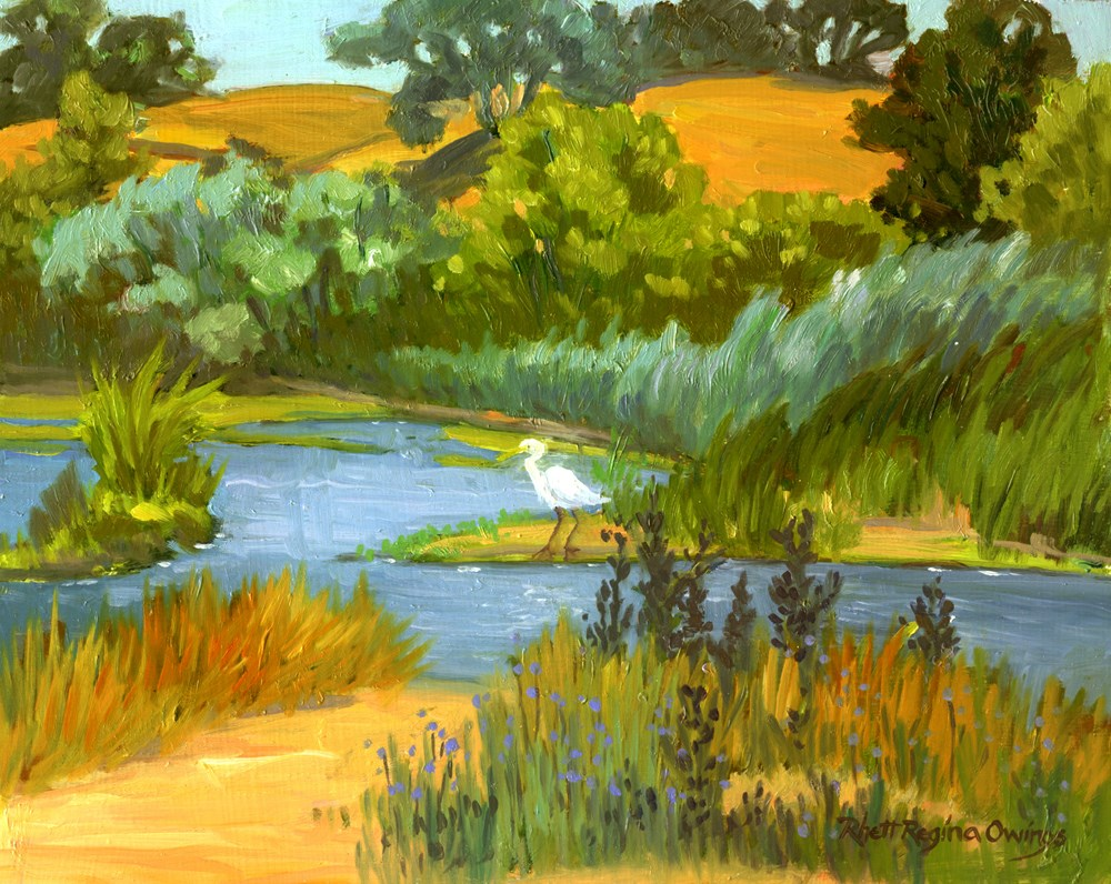 """Pond With Egret"" original fine art by Rhett Regina Owings"