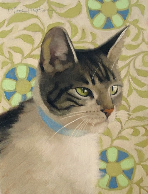 """Nancy a cat painting"" original fine art by Diane Hoeptner"