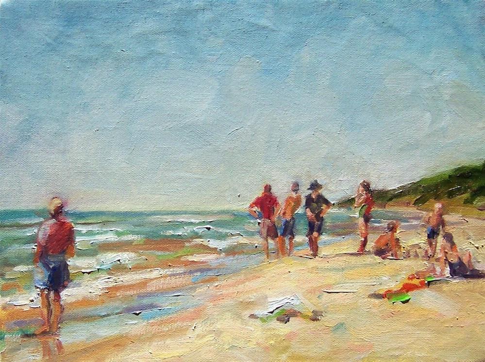 """At the Beach,seascape,oil on canvas,9x12,price$475"" original fine art by Joy Olney"