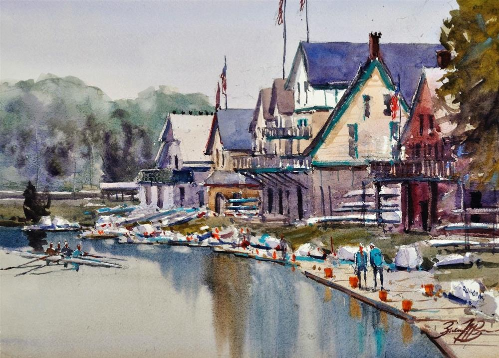 """Boathouse Row"" original fine art by Brienne M Brown"