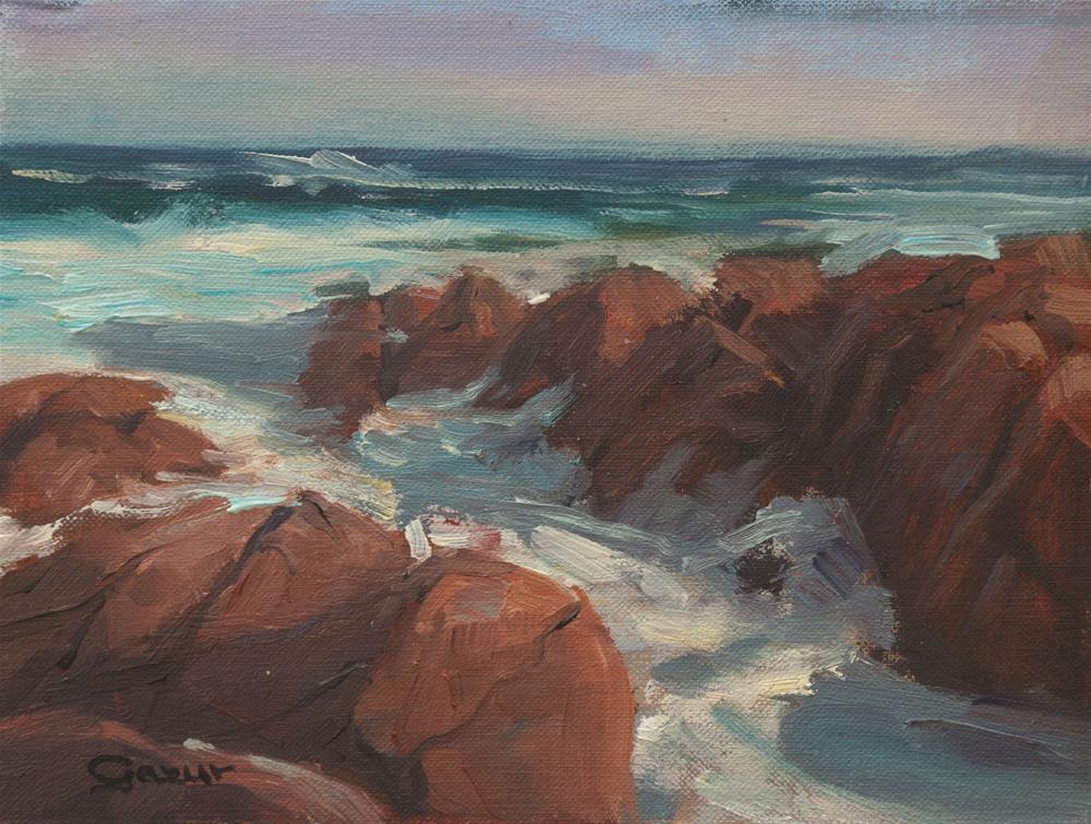 """""""Waves of Spanish Bay in Monterey 6x8"""" original fine art by Pavel Gazur"""