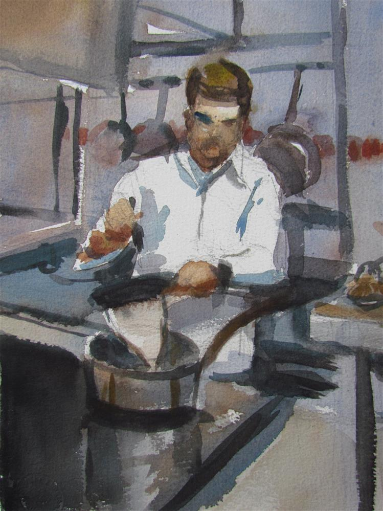 """patissier"" original fine art by gilles Poulizac"