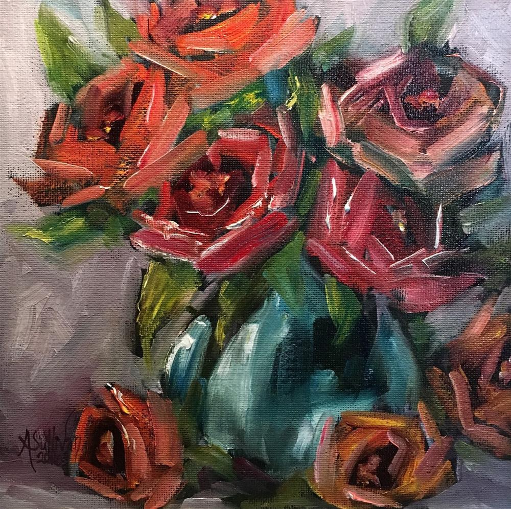 """Enough To Go Around rose painting by Alabama Artist Angela Sullivan"" original fine art by Angela Sullivan"