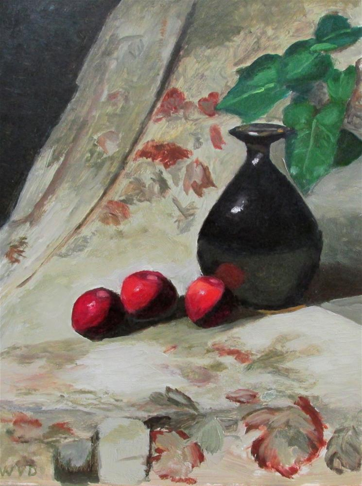 """Apples and Purple Vase"" original fine art by Will Dargie"