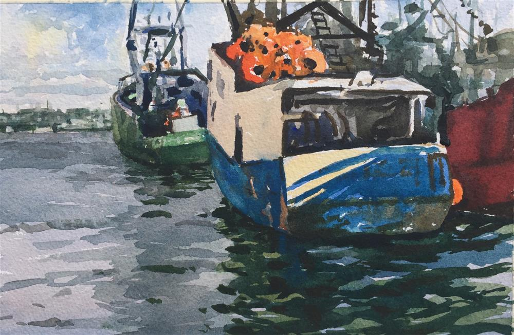 """Fishing Boats"" original fine art by Laurie Maher"