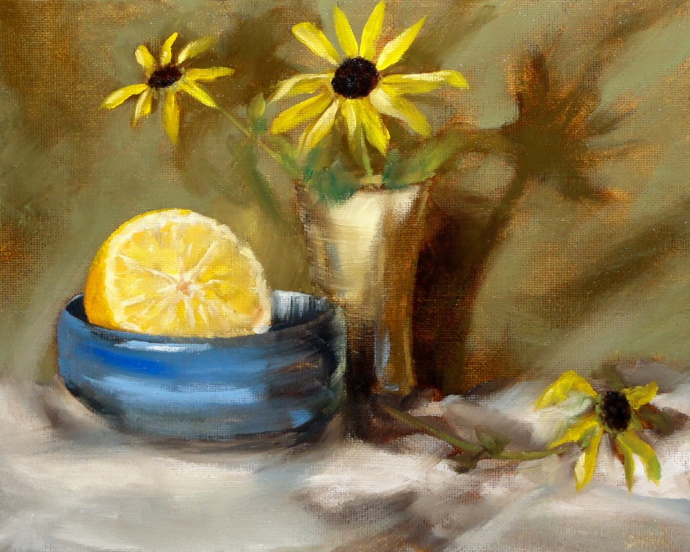 """Rudbeckia And Orange In Blue"" original fine art by Dalan Wells"